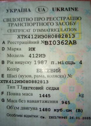 Документы на москвич Иж 412 бежевый 1987г.