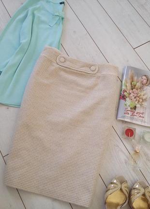 Элегантная светлая юбка миди карандаш на высокую талию.# .536