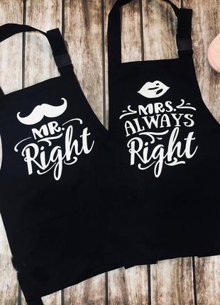"Фа000104 парные фартуки с принтом ""mr. right / mrs. always right"""