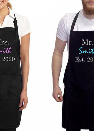 "Фа000296парные фартуки с принтом ""mrs. smith. mr. smith"""