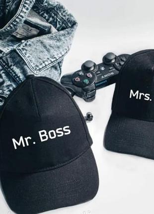 """Кп000031парные кепки (бейсболки) с принтом """"mr. boss. mrs. bo..."""