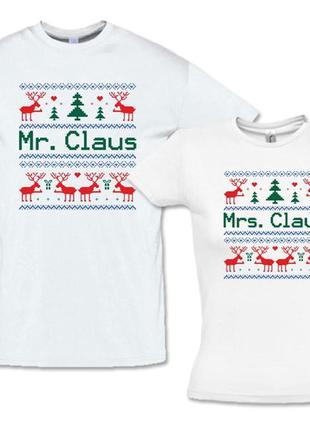 """Фп005790парные футболки с принтом """"mr. claus. mrs. claus"""" pus..."""