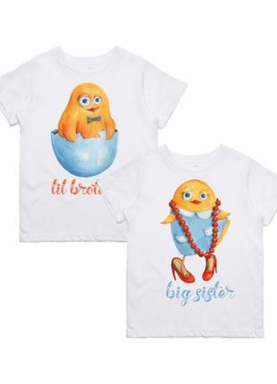 """Фп005820парные футболки с принтом """"big brother. big sister"""" p..."""