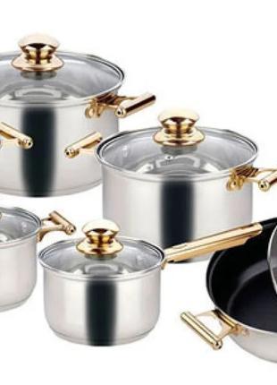 Набор кастрюль со сковородой с крышками и фритюром Goldteller GT-