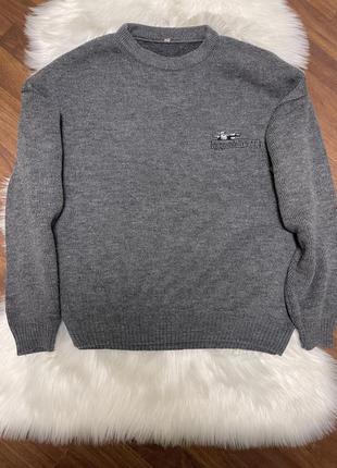 Тёплый вязаный мужской свитер большой размер