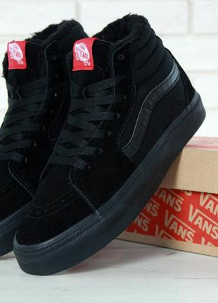 Кеды vans sk8 - hi. winter edition black, зимние вансы с мехом