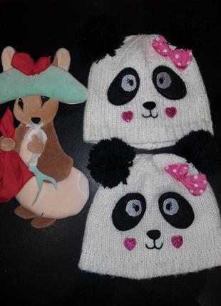 Шапка панда на 2-7лет