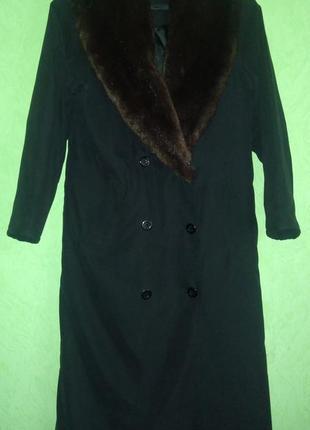 Плащ, пальто демисезонное  из полиестра с меховым воротником, ...