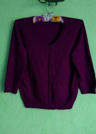 Свитер, джемпер фиолетового цвета, кофта из вязаного трикотажа...