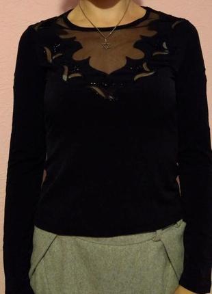 Блуза женская черная, блузка со вставками из сеточки, обшитых ...