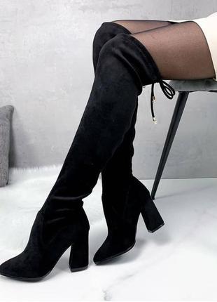 Чёрные ботинки высокие ботфорты бодфорды каблуке