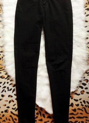 Черные джинсы скинни с дырками на коленях американки джеггинсы...