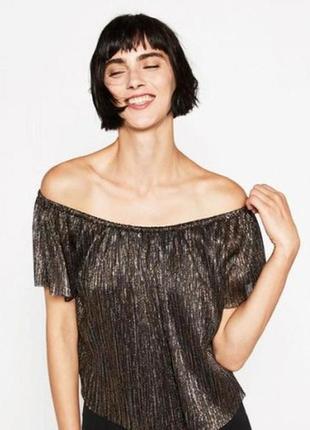 Нарядная вечерняя блуза топ с приспущенными плечами