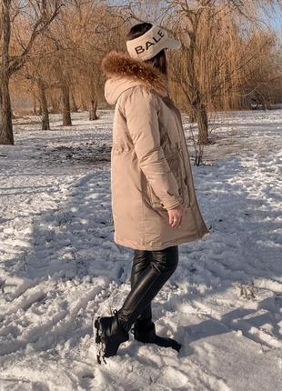 Пуховик/парка зимняя био   пух с натуральным мехом.