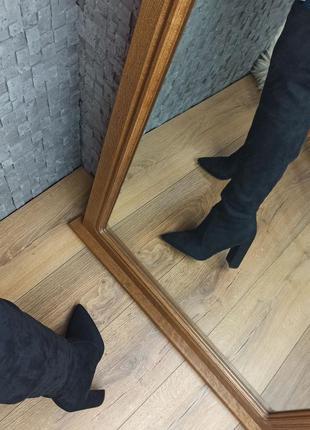 Ботфорты замшевые на толстом каблуке высокие сапоги