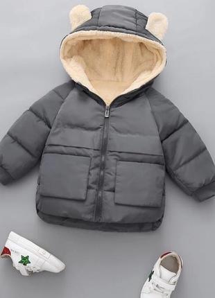 Куртка зимняя на флисе на травке холодная осень пальто