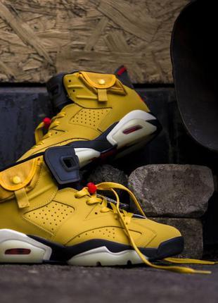 Мужские кроссовки air jordan 6 retro yellow нубук хит продаж