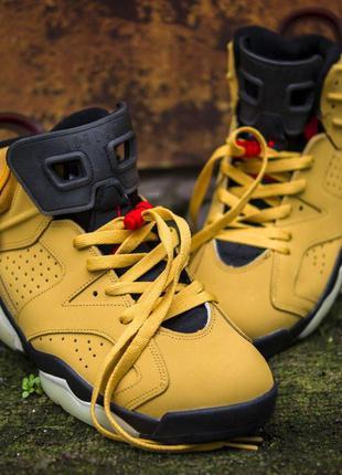 Шикарные мужские кроссовки nike air jordan 6 retro yellow нубу...