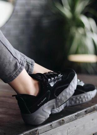 Шикарные женские кроссовки acne studio black