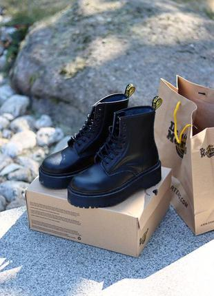 Dr. martens jadon total black женские ботинки без меха наложка