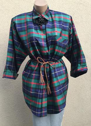 Винтаж,блуза,рубаха в клетку,тайский100%шелк,alexandra