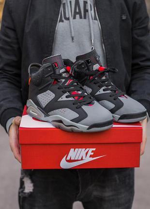 Шикарные мужские кроссовки nike air jordan retro 6 black