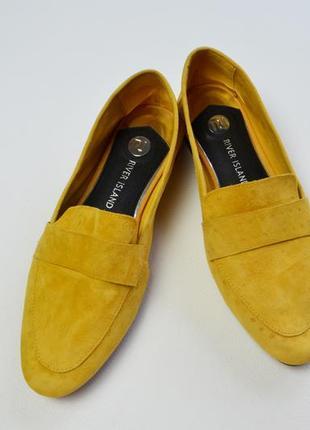 Стильные горчичные лоферы туфли кожа