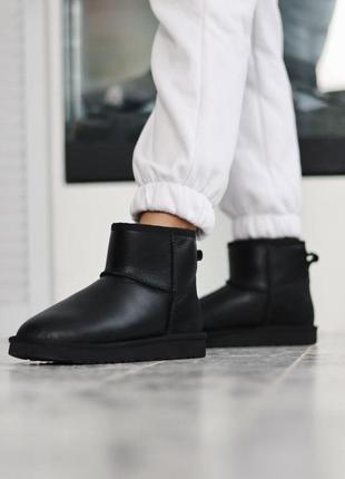 Шикарные женские сапоги ugg mini black leather