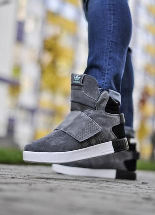 Шикарные мужские зимние кроссовки adidas tubular invader на меху