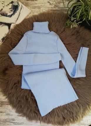 Небесно голубой, платье рубчик, платье резинка, платье гольф
