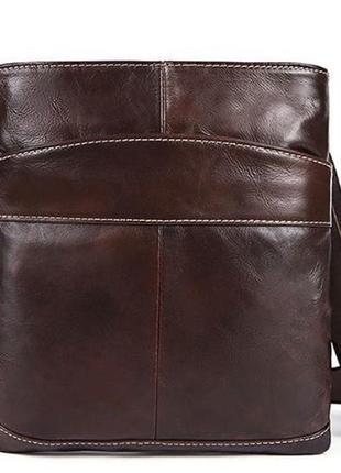 Темно-коричневая кожаная, мужская сумка14730