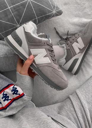 Женские зимние кроссовки new balance 574 winter gray