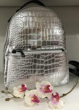 Серебрянный рюкзак кожа италия оригинал принт крокодила