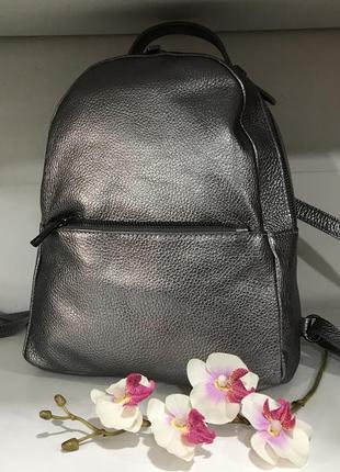 Рюкзак кожа цвет металлик италия
