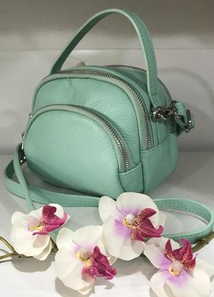 Мятная сумочка много отделений кожа италия