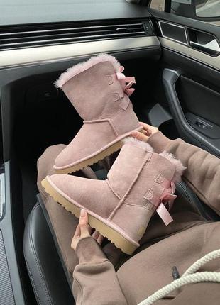 Шикарные женские зимние сапоги ugg bailey bow ii boot pink cry...