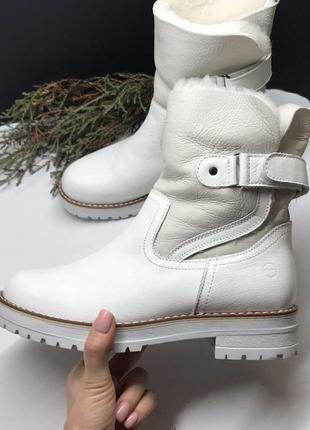Ботинки  белые цигейка полностью tamaris германия зима