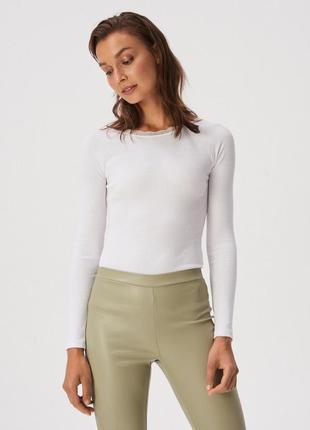 Новая длинная облегающая белая кофта лонгслив блузка польша кр...