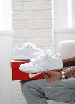 Шикарные кроссовки унисекс nike sb dunk low white