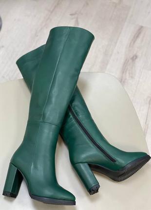 Сапоги ботфорты на удобном каблуке кожа замш зима весна