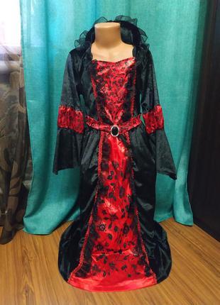 Платье злой королевы,вампирша, карнавальный костюм на хэллоуин...