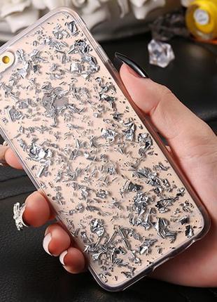Силиконовый чехол с блестками Серебро для iPhone 6/6s