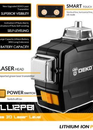 Лазерный уровень Deko DKLL12PB1 зелёные лучи 3D