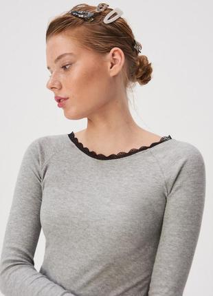 Новая серая кофта светло-серый лонгслив блузка польша кружево ...