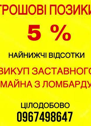 Грошова  Позика 5 %        Викуп  Майна З Ломбарду