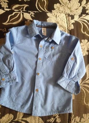 Коттоновая рубашечка на мальчиков до 3 лет