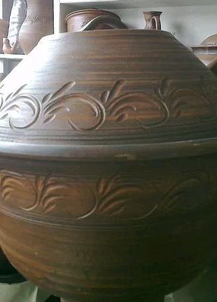 Красная глина. Супник - хлебница гончарный 5 литров.