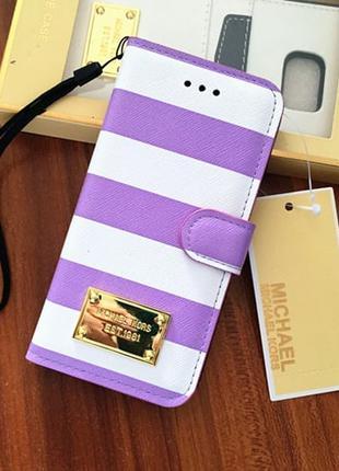 Чехол книжка Michael Kors Strips Фиолетовый для IPhone 6/6s