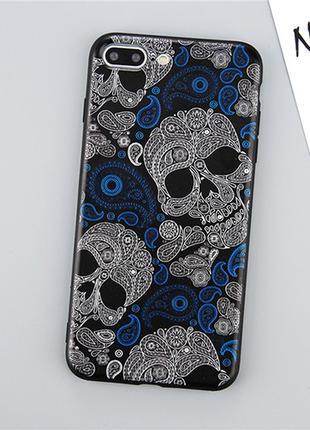 Силиконовый чехол рельефный Lovebay Skull Черепа для IPhone 6&6s