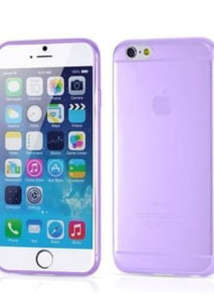 Чехол ультратонкий мягкий пластик 0.3мм Фиолетовый для IPhone 6